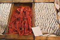 Afrique/Afrique du Nord/Maroc/Rabat: le marché central étal des poissonniers - gambas royales