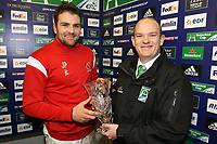 Friday 7th December 2012;  Jared Payne receives the Man Of The Match Award during the Pool 4 round 3 Heineken Cup clash at Franklin's Gardens, Northampton, England. Image credit -: JOHN DICKSON / DICKSONDIGITAL