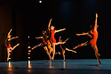 """London, UK. 23.03.2018. Richard Alston Dance Company presents the premiere of """"Mid Century Modern"""", at Sadler's Wells. Richard Alston choreographed his very first dance in 1968. 50 years later Mid Century Modern celebrates this landmark with new and old work from Alston, a celebration of a half century of making dances. The programme also features London premieres of Carnaval by Alston and Cut and Run by Martin Lawrance.<br />  <br /> For Mid Century Modern Alston has chosen featuring short sections from Rainbow Bandit, Nowhere Slowly, Gypsy Mixture, Proverb, Syrinx, Dutiful Ducks and Signal of a Shake. BBC Young Dancer 2015 finalist Vidya Patel (who joined the Company as a guest dancer for An Italian in Madrid in 2016) features in Syrinx to represent the current decade. RADC dancer Liam Riddick (Best Male Dancer Award, Critics Circle National Dance Awards 2017) will dance the solo Dutiful Ducks. Picture shows: The company in an extract from """"Proverb"""" (2006).  Photograph © Jane Hobson."""