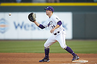 Winston-Salem Dash first baseman Gavin Sheets (24) waits for a throw during the game against the Salem Red Sox at BB&T Ballpark on April 21, 2018 in Winston-Salem, North Carolina.  The Dash walked-off the Red Sox 4-3.  (Brian Westerholt/Four Seam Images)