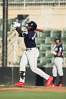 Cornelius Randolph (9) of the Lakewood BlueClaws follows through on his swing against the Kannapolis Intimidators at Kannapolis Intimidators Stadium on August 11, 2016 in Kannapolis, North Carolina.  The Intimidators defeated the BlueClaws 3-1.  (Brian Westerholt/Four Seam Images)