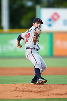 Danville Braves starting pitcher Dilmer Mejia (32) in action against the Burlington Royals at Burlington Athletic Stadium on August 12, 2017 in Burlington, North Carolina.  The Braves defeated the Royals 5-3.  (Brian Westerholt/Four Seam Images)