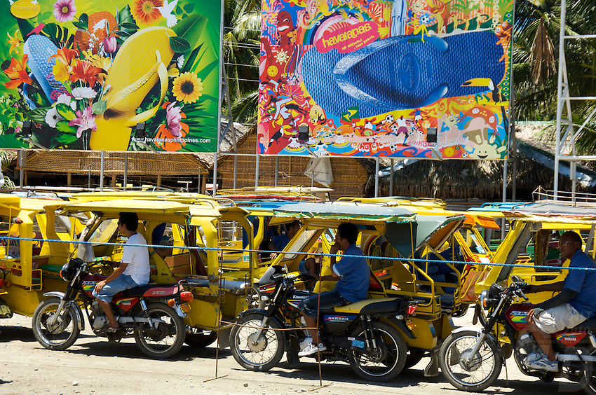 BORACAY ISLAND PHILIPPINES, Tri-cycle drivers lined up and waiting for the tourist
