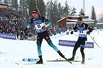 Quentin Fillon Maillet (FRA) ahead of Kalev Ermits (EST) at the Sprint Men Event of the IBU World Championships Biathlon 2019 Ostersund  Sprint Men Event in Ostersund, Sweden on March 9, 2019; <br />  © Pierre Teyssot