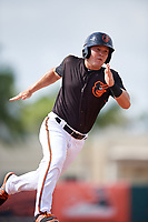 GCL Orioles second baseman John Ham (6) runs the bases during the first game of a doubleheader against the GCL Twins on August 1, 2018 at CenturyLink Sports Complex Fields in Fort Myers, Florida.  GCL Twins defeated GCL Orioles 7-6 in the completion of a suspended game originally started on July 31st, 2018.  (Mike Janes/Four Seam Images)