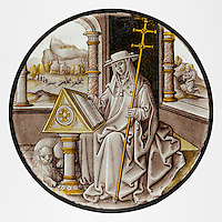 Roundel with Saint Jerome in his Study. ca. 1520.  Colorless glass, vitreous paint and silver stain. The Metropolitan Museum of Art, New York