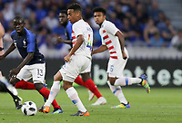 Lyon, France - Saturday June 09, 2018: Tyler Adams during an international friendly match between the men's national teams of the United States (USA) and France (FRA) at Groupama Stadium.