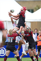 20120823 Copyright onEdition 2012©.Free for editorial use image, please credit: onEdition..Mouritz Botha of Saracens secures the high ball at The Honourable Artillery Company, London in the pre-season friendly between Saracens and Stade Francais Paris...For press contacts contact: Sam Feasey at brandRapport on M: +44 (0)7717 757114 E: SFeasey@brand-rapport.com..If you require a higher resolution image or you have any other onEdition photographic enquiries, please contact onEdition on 0845 900 2 900 or email info@onEdition.com.This image is copyright the onEdition 2012©..This image has been supplied by onEdition and must be credited onEdition. The author is asserting his full Moral rights in relation to the publication of this image. Rights for onward transmission of any image or file is not granted or implied. Changing or deleting Copyright information is illegal as specified in the Copyright, Design and Patents Act 1988. If you are in any way unsure of your right to publish this image please contact onEdition on 0845 900 2 900 or email info@onEdition.com