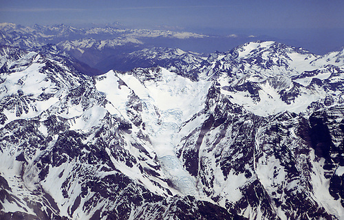 Chile. Aerial view of the Andes mountains.