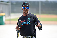Miami Marlins Marcos Rivera (17) during a Minor League Spring Training camp day on April 27, 2021 at Roger Dean Chevrolet Stadium Complex in Jupiter, Fla.  (Mike Janes/Four Seam Images)