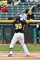 Roberto Lopez (30) of the Salt Lake Bees at bat against the Memphis Redbirds at Smith's Ballpark on June 18, 2014 in Salt Lake City, Utah.  (Stephen Smith/Four Seam Images)