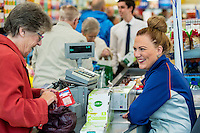 Thursday  28 July 2014<br /> Pictured: Staff interact with customers in the store Re: ALDI Merthyr Tydfill Grand Re-opening
