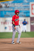 Orem Owlz shortstop Livan Soto (7) takes a lead off second base during a Pioneer League game against the Missoula Osprey at Ogren Park Allegiance Field on August 19, 2018 in Missoula, Montana. The Missoula Osprey defeated the Orem Owlz by a score of 8-0. (Zachary Lucy/Four Seam Images)