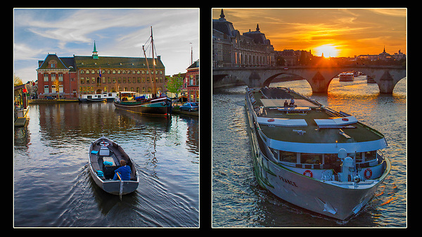 France, Paris.  Stage technique. <br /> These boats come by regularly, so design a composition with a place or 'stage' for them. Musee d'Orsay (left) and the inevitable tour boat on the Seine River at sunset, Paris.
