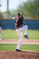 Deven Kirtley (2) of Piner High School in Santa Rosa, California during the Baseball Factory All-America Pre-Season Tournament, powered by Under Armour, on January 13, 2018 at Sloan Park Complex in Mesa, Arizona.  (Mike Janes/Four Seam Images)