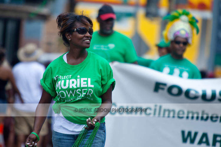 Supporters of Muriel Bowser head up the parade at the 2010 DC Caribbean Carnival in Washington, DC.