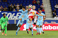 Harrison, NJ - Thursday Sept. 15, 2016: Juan Carlos Portillo, Mike Grella during a CONCACAF Champions League match between the New York Red Bulls and Alianza FC at Red Bull Arena.