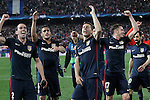 Atletico de Madrid's Diego Godin, Koke Resurrecccion, Lucas Hernandez, Saul Niguez and Juanfran Torres celebrate the victory in the Champions League 2015/2016 Quarter-Finals. April 13,2016. (ALTERPHOTOS/Acero)