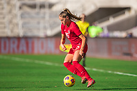ORLANDO, FL - FEBRUARY 24: Janine Beckie #16 of the CANWNT dribbles the ball during a game between Brazil and Canada at Exploria Stadium on February 24, 2021 in Orlando, Florida.
