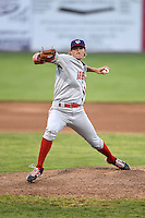 Auburn Doubledays pitcher Brett Mooneyham (39) delivers a pitch during a game against the Batavia Muckdogs on June 14, 2014 at Dwyer Stadium in Batavia, New York.  Batavia defeated Auburn 7-2.  (Mike Janes/Four Seam Images)