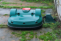 robotic lawnmower pictured before a soccer game between the national teams Under17 Youth teams of Belgium and Luxemburg in the Qualifying round in group 3 on wednesday 6 th of October 2020  in Tubize , Belgium . PHOTO SPORTPIX | STIJN AUDOOREN