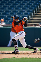 Bowie Baysox Zach Jarrett (23) hits an RBI base hit during an Eastern League game against the Binghamton Rumble Ponies on August 21, 2019 at Prince George's Stadium in Bowie, Maryland.  Bowie defeated Binghamton 7-6 in ten innings.  (Mike Janes/Four Seam Images)