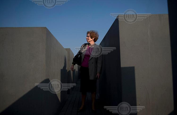 Anti-Nazi activist Beate Klarsfeld at the Holocaust Memorial in Berlin.