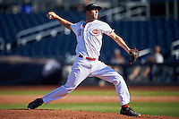 Peoria Javelinas pitcher Evan Mitchell (16), of the Cincinnati Reds organization, during a game against the Scottsdale Scorpions on October 22, 2016 at Peoria Stadium in Peoria, Arizona.  Peoria defeated Scottsdale 3-2.  (Mike Janes/Four Seam Images)