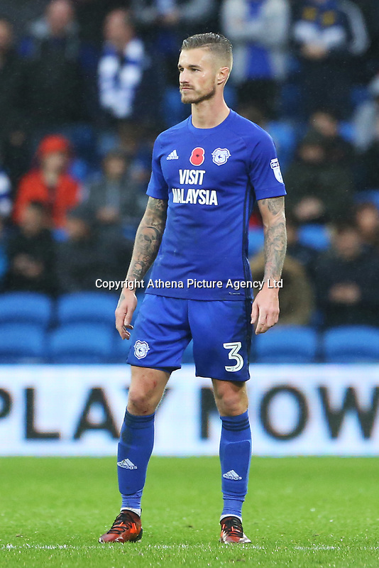 Joe Bennett of Cardiff City during the Sky Bet Championship match between Cardiff City and Brentford at the Cardiff City Stadium, Wales, UK. Saturday 18 November 2017