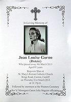 Pictured: The order of service from the funeral of Franco Gorno's late wife Joan. Tuesday 25 March 2014<br />