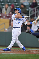Omaha Storm Chasers catcher Nick Dini (8) swings at a pitch against the Colorado Springs Sky Sox at Werner Park on April 5, 2018 in Omaha, Nebraska. The Sky Sox won 3-1.  (Dennis Hubbard/Four Seam Images)