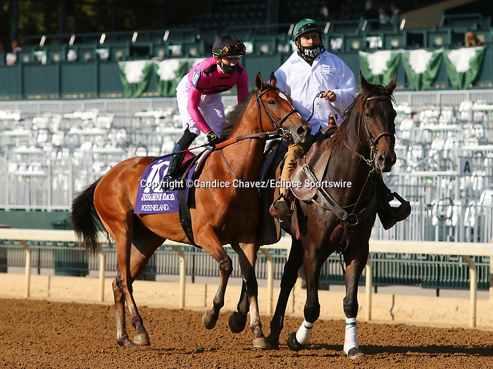 "Octover 07, 2020 : #10 Spanish Loveaffair and jockey Tyler Gaffalione finish 2nd in the 30th running of the JPMorgan Chase Jessamine Grade 2 $150,000 ""Win and You're In Juvenile Fillies Turf Division"" at Keeneland Racecourse in Lexington, KY on October 07, 2020.  Candice Chavez/ESW/CSM"