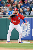 Buffalo Bisons first baseman Rowdy Tellez (34) waits to receive a throw during a game against the Scranton/Wilkes-Barre RailRiders on May 18, 2018 at Coca-Cola Field in Buffalo, New York.  Buffalo defeated Scranton/Wilkes-Barre 5-1.  (Mike Janes/Four Seam Images)