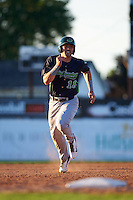 Vermont Lake Monsters first baseman Chris Iriart (18) running the bases during a game against the Batavia Muckdogs August 9, 2015 at Dwyer Stadium in Batavia, New York.  Vermont defeated Batavia 11-5.  (Mike Janes/Four Seam Images)