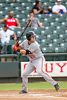 Fresno Grizzlies first baseman Adam Duvall (29) at bat during the Pacific Coast League baseball game against the Round Rock Express on June 22, 2014 at the Dell Diamond in Round Rock, Texas. The Express defeated the Grizzlies 2-1. (Andrew Woolley/Four Seam Images)