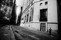 Empty streets patrolled by National Guard, lower Manhattan, September 15, 2001.
