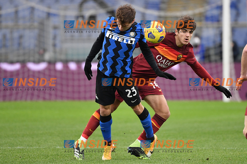 Nicolo Barella of Inter and Gonzalo Villar of Roma during the Serie A football match between AS Roma and FC Internazionale at Olimpico stadium in Roma (Italy), January 10th, 2021. Photo Andrea Staccioli / Insidefoto