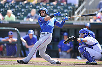 Round Rock Express catcher A. J. Jimenez (6) swings during a  game against the Iowa Cubs at Principal Park on April 16, 2017 in Des  Moines, Iowa.  The Cubs won 6-3.  (Dennis Hubbard/Four Seam Images)