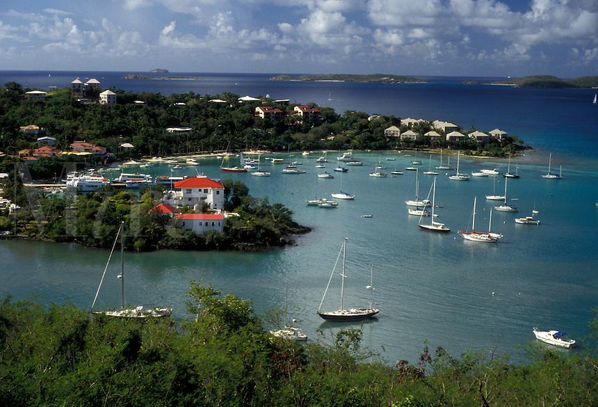 AJ2362, U.S. Virgin Islands, St. John, Caribbean, U.S.V.I., USVI, Virgin Islands, Scenic view of Cruz Bay Harbor on Saint John Island, US Virgin Islands.