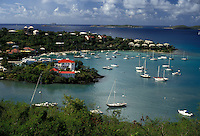 AJ2362, U.S. Virgin Islands, St. John, Caribbean, U.S.V.I., USVI, Virgin Islands, Scenic view of Cruz Bay Harbor on Saint John Island, US Virgin Islands.