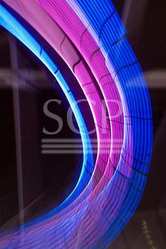 Sydney, Australia. Coloured light arc in purple and blue.