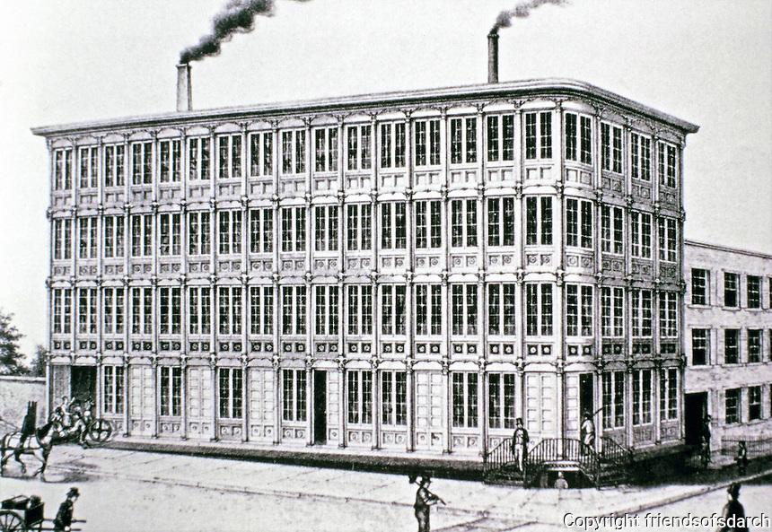 E.V.Haughwout Building, designed by John P. Gaynor, 1857. New York City, New York. Cast iron elements: Daniel Badger Co. Architectural Iron Works.<br /> Designated New York City Landmark Dec. 23, 1965.