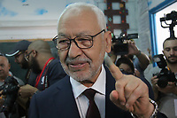 TUNIS, TUNISIA - OCTOBER 06: Ennahdha Party leader Rached Ghannouchi s cast their votes at a polling station during parliamentary elections in Tunis, Tunisia on October 06, 2019.