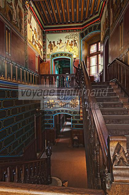 Europe/France/Aquitaine/64/Pyrénées-Atlantiques/Pays-Basque/Hendaye: Chateau d'Abbadia construit en 1870 par  Eugène Viollet-le-Duc pour Antoine d'Abbadie d'Arrast - Le vestibule
