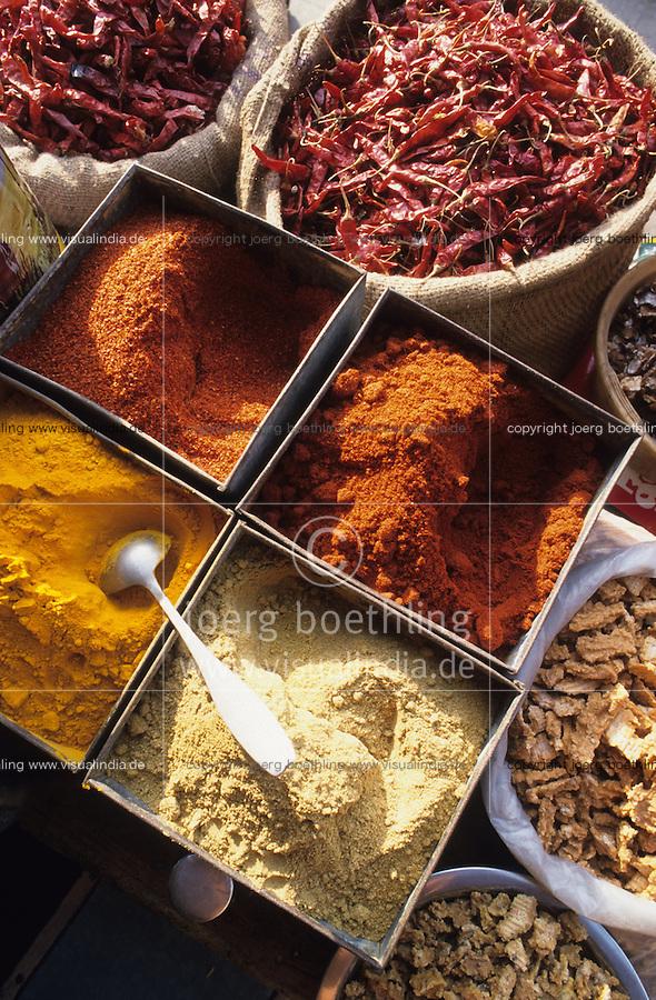 INDIA, Rajasthan, Jaipur, spices like chillies, ginger and powder from coriander turmeric and chili at market / INDIEN Rajasthan, Gewürze wie Chilly Chillipuder Gelbwurz Koriander auf Markt in Jaipur