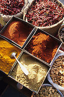 INDIA, Rajasthan, Jaipur, spices like chillies, ginger and powder from coriander turmeric and chili at market / INDIEN Rajasthan, Gewürze wie Chilly Chillipuder Gelbwurz Koriander auf Markt in Jaipur