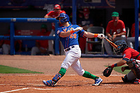 New York Mets J.D. Davis (28) bats during a Major League Spring Training game against the Washington Nationals on March 18, 2021 at Clover Park in St. Lucie, Florida.  (Mike Janes/Four Seam Images)