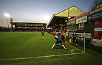 Stockport County 2 Rushden & Diamonds 2, 22/01/2006. Edgeley Park, League Two. Stockport County versus Rushden & Diamonds, Coca-Cola Football League Two at Edgeley Park, Stockport. With the teams occupying the bottom two places in the Football league, points were vital in home club's Jim Gannon's first game in charge as manager. The match ended 2-2. Picture shows Rushden heading for the corner flag to protect their lead which was to no avail as County equalised in the 94th minute.<br />  Photo by Colin McPherson.