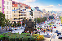 Wenceslas Square and monument to St. Wenceslas in Prague, Czech Republic