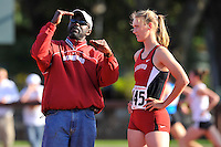 04 May 2008: Kara Bennett and Director of Track & Field, Edrick Floreal, during the Payton Jordan Cardinal Invitational at the Cobb Track and Angell Field in Stanford, CA.